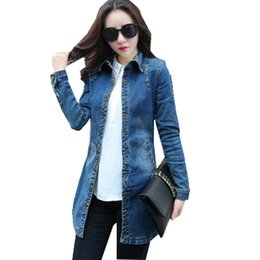 Vestes Longues Longues En Jean Pas Cher-Vente en gros - Vintage Women Denim Jacket 2016 Femme Casual Lavé Jean Jacket Slim Holes Zipper Long Jean Coat Outwear Vêtement Femme S-XXL