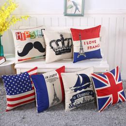 Discount wholesale decorative cushions - 18*18 inches cushion cover cotton Linen Fashion Eiffel Tower america uk flag Decorative Chair sofa car Squre Throw Pillo
