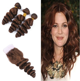 ChoColate hair weave 16 inCh online shopping - Dark Brown Loose Wave Hair Weaves Bundles With Lace Closure Chocolate Brown Color Loose Curly Hair Extension With Top Closure