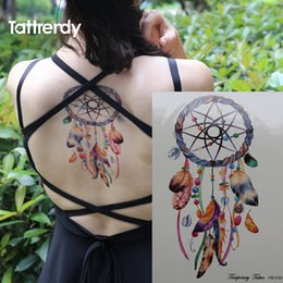 Plumas Falsas Al Por Mayor Baratos-Venta al por mayor-Dreamcatcher romántica Dreamcatcher coloridos pluma Body Art Dream Catcher Impermeable Big Flash Fake tatuajes temporales etiqueta en el brazo