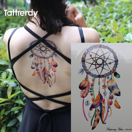 Gros Faux Plumes Pas Cher-Vente en gros - Romantique Dreamcatcher Tattoo Colorful Feather Body Art Dream Catcher Imperméable Big Flash Fake Tatouage temporaire autocollant sur le bras