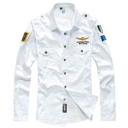 Venta al por mayor de Camisas tácticas 2017 fuerza aérea uno hombres camisa de manga larga masculina slim fit camisa de vestir de los hombres camisa chemise homme camisa masculina hombres ropa