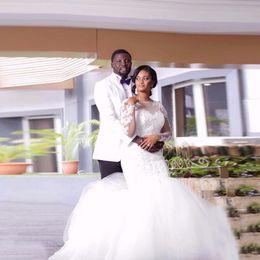 Wholesale african design shirts for sale – dress Vestidos De Novia Latest Design African Plus Size Wedding Dresses Scoop Long Sleeve Lace Mermaid Wedding Gowns Bride Dress