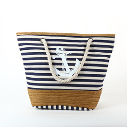 anchor bags zipper NZ - 2017 Summer Anchor Strips Printing Canvas Tote Bag Women's Navy Style Rope Travel Bag Straw Weave Shopping Beach Bag C94