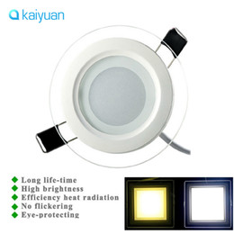 square glass downlight UK - 2017 Dimmable 6W 12W 18W LED Panel Downlight Round  square Glass Panel Lights Ceiling Recessed Lamps For Home Hotel Lighting AC 85-265V