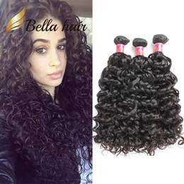 bella hair bundles 2019 - Bella Hair® 9A Brazilian Hair Bundles Quality Human Hair Extensions Natural Black Color Water Wave 3 Bundles Human Hair
