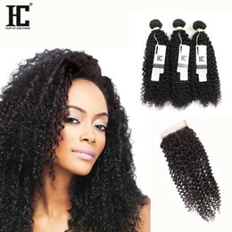 $enCountryForm.capitalKeyWord NZ - Malaysian Kinky Curly Hair With Closure 10A Virgin Unprocessed HC Malaysian Human Hair 3 Bundles Curly Hair With Closure Free Middle 3 Part