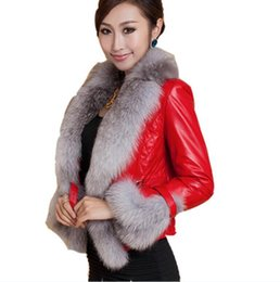 leather coats fur collars UK - Autumn winter Fashion Leather Clothing short PU leather coat was thin large size imitation fox fur collar cotton coat imitation fur jacket