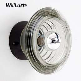 lounge lights 2019 - Pressed Glass bowl wall lamp wall sconce modern clear glass lighting nordic porch foyer lounge staircase hotel restauran