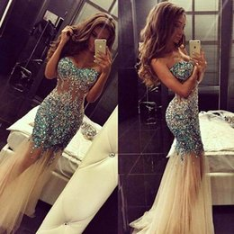 See Through Prom Dresses Rhinestones Australia - Newest Bling Bling Gorgeous Sexy See Through Mermaid Prom Dress Colorful Handmade Rhinestones Tulle Evening Gowns Crystal Beads Custom Size