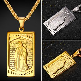 China U7 Oratio Dominica Lord Prayer Jewelry Blessed Virgin Mary Pendant Necklace Gold Plated Stainless Steel Cross Charms Women Men Accessories suppliers