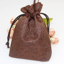 Burlap Fabric Wholesale NZ - 1pcs Garden Linen Fabric Jute Drawstring bags Gift package bags Natural Burlap Bags with Nylon Drawstring Reusable home decor