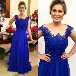 royal blue mother wedding dress Australia - Floor Length Royal Blue Chiffon Mother Of The Bride Dresses Sleeves Appliques Beaded Lace Plus Size Wedding Groom Dress Evening Party Gowns