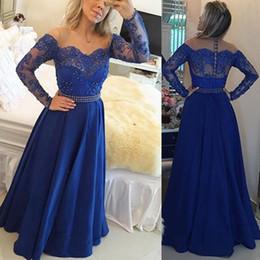 Lace Prom Dresse Canada - Royal Blue Long Sleeves Evening Dresses Sheer Neck Off Shoulder Appliques Lace Crystal Satin Floor Length Prom Dresses 2017 Formal Dresse