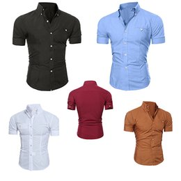 Chemises À Boutons Pour Hommes Pas Cher-Vente en gros - Hommes Bussiness Lapel Button Down Short Sleeve Top Blouse Casual Smooth Shirt Store 50