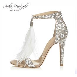 2017 Sexy Plus Size Summer Woman High Heel Sandals Genunin Leather  Rhinestone Feather tassels Thin High Heel Women Wedding Shoes Stilettos 74c5fe7e786f