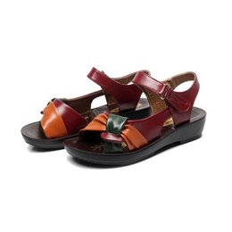 afe6811d2600 2017 summer Mother shoes flat sandals women aged leather Soft bottom mixed  colors fashion sandals comfortable old shoes