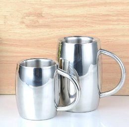 Double Steel Beer Mug Canada - Creative 304 Double stainless steel beer mug coffee mug cups 410ml and 300ml for bar KTV thick and durable