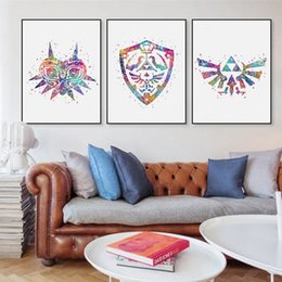 Original Oil paintings mOdern online shopping - Original Watercolor Modern Legend Of Zelda Logo Game Movie Canvas A4 Art Print Poster Wall Pictures Home Decor Painting No Frame