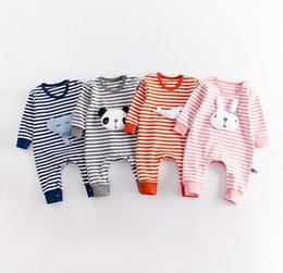 Coton À Manches Longues En Coton Pas Cher-2017 Autumn Infant Baby Cartoon Animails Coton Rompers Enfants Long Sleeve Stripe Rompers Onesies Jumper Toddlers Vêtements de travail 13471