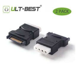Toptan Satış - ULT-En İyi 2 Paket 15Pin Sata Seri ATA Erkek Molex IDE 4 Pin Dişi M-F Sabit Disk Adaptörü Güç Kablosu Hattı Güç