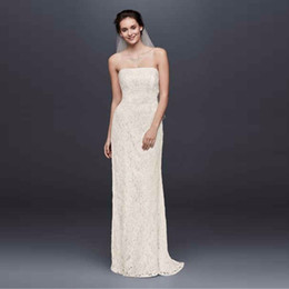 strapless champagne lace sheath dress Australia - Allover Beaded Lace Sheath Gown with Empire Waist Wedding Dresses Strapless Open Back Lace Designer Sleeveless Bridal Gowns S8551