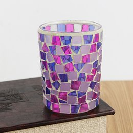 Peach glasses online shopping - Romantic Candler Irregular Peach Blue Patch Candleholder Use For Wedding Souvenirs Mosaic Glass Candlesticks Durable yy B R