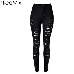 4bf76ba23c Wholesale- NiceMix 2017 Sexy Ripped Jeans For Women Skinny Pencil Pants  Slim Casual Scratched High Waist Jeans Woman Denim Jeans Femme