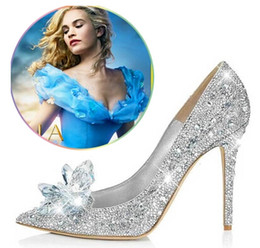Chinese  Cinderella crystal pumps glass shoes pointed toe high heels women rhinestone pumps women wedding shoes free shipping manufacturers