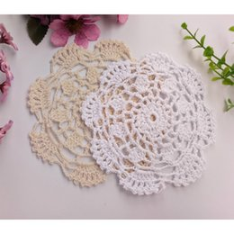 $enCountryForm.capitalKeyWord Canada - Free Shipping 50pcs lot Wholesale DIY Household Handmade Flower Crochet Doilies Round Cup Mat Pad 14-15.5cm Coaster Placemats