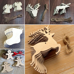 Wooden tree decorations online shopping - 10 pieces Christmas Tree Ornaments Wood Chip Snowman Tree Deer Socks Hanging Pendant Christmas Decoration Xmas Gift style WX9