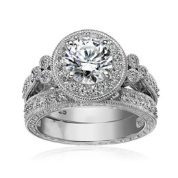 Chinese  Size 5 6 7 8 9 10 Vintage Jewelry Round Cut 925 Sterling Silver White Topaz CZ Diamond Gemstones Wedding Engagement Bridal Ring Set Gift manufacturers