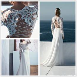 simple unique wedding dress sleeves 2019 - New Design Lace Wedding Dresses A Line Jewel Long Sleeve Illusion Wedding Gowns with Cross Back Unique Design Bridal Gow