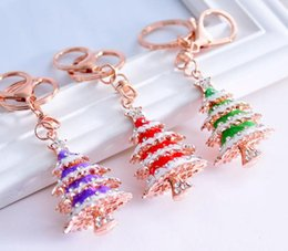 lead crystal christmas ornament Canada - Christmas Tree Keychain Christmas Gifts Metal Mosaic Rhinestones Key Ring Bag Ornaments