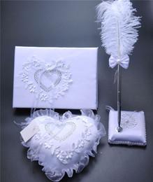 Toptan satış 3 Adettakım Çuval Bezi Hessen Dantel Kristal Düğün Ziyaretçi Defteri Kalem Set Halka Yastık Jartiyer Dekorasyon Aşk Kalp Gelin Yüzük Yastıklar Düğün Malzemeleri