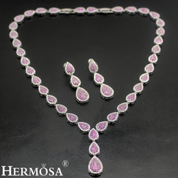 "cherry jewelry sets Canada - 925 Sterling Silver Jewelry Sets Natural Gemstone Necklace Earrings White Cubic Zirconia Rose Cherry Ruby Women Beautiful Gifts 17""INCH"