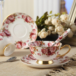 Coffee display online shopping - Bone China Tea Cup Coffee Cup Set with Saucer and Spoon for Home Restaurants Display Holiday Gift for Family or Friends