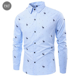 Robe À Manches Courtes Pas Cher-Vente en gros - New Mens Turn-Down Collar Formal Chemises Hommes Long Sleeve Slim Fit Casual Shirt Mens Dree Printed Christmas Social Dress Shirts