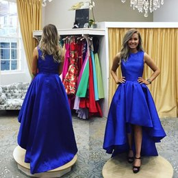 Barato Vestidos Curtos Preços Baratos-Royal Blue High Low Prom Vestidos Jewel Neck Ruffled Satin Custom Made Hi-lo Vestidos de Festa Vestidos Homecoming curto Preço barato