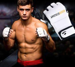 Mma Boxing Glove Canada - New Half finger muay thai boxing gloves guanti mma handschoenen training sport fitness fighting boxeo kick boxing gloves