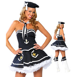 China Wholesale-High Quality new Sexy Halloween Female clothes Navy sailor dress Cosplay Costume for Halloween hot sale cheap hot navy costume suppliers