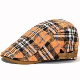 Chinese  Wholesale-2016 New Fashion Adjustable Cotton Cap Summer Gatsby Plaid Style Beret Men Women Berets Gorras Planas Boina manufacturers