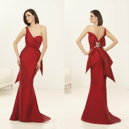 cheap red one shoulder dress Canada - Charming 2017 New Red One Shoulder Backless Mermaid Dresses Evening Wear Cheap Big Sash Back Beaded Formal Evening Party Gowns EN6262