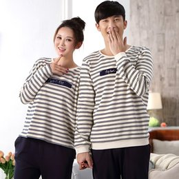 2016 New Couple Cotton Home Suit Autumn and Winter Long-sleeved Casual Striped  Pajamas Lovers Set XL XXL XXXL Women s Sleepwear 762846cd9