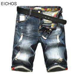 Wholesale jeans europe resale online – designer Fashion Moustache Effect Short Pants Men Loose Denim Shorts Men New Europe Straight Jeans Men