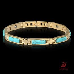 Opala Azul Turquesa Jóias Incrustadas Jóias Moda OL Ímã Das Senhoras Pulseira-Aleatória em Promoção