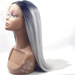 Wig Grey Canada - Ombre Grey Synthetic Lace Front Wig Silky Straight Heat Resistant Fiber Middle Part Glueless Synthetic Wig for Black Women