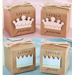Barato Caixas De Doces Da Princesa-Pequena princesa / príncipe Kraft Favor Caixa, Brown / Pink Baby Birthday Candy presentes favor caixas 100pcs / lot