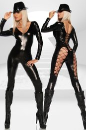 Barato Gatinho De Rendas Sexy-Mulheres Sexy Black Punk Gótico Lace-Up Costume V Neck Pescoço Catsuit Wet Olhar Pole Dancing Outfit Exotic Catwoman Cosplay Jumpsuit