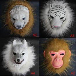 Monkey Halloween Costumes Canada - Wholesale-Realistic Fur Mane Latex Mask Creepy Animal Tiger Lion Monkey Wolf Partern Full Face Cosplay Halloween Costume VDY45 P69